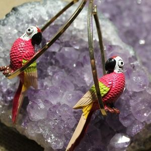 Quirky Parrot on a swing Earrings